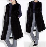 ingrosso maglia di pelliccia di mink delle donne-Mink 2019 Inverno Donna Faux Fur Coat Artificiale Gilet di Pelliccia di Visone Gilet Femme Giacche Lungo Nero Gilet Finto Q975