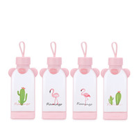 Wholesale cute seal cup resale online - Flamingo Square Cup Pink Girl Glass Water Bottle Originality Seal Up Tumbler Gift Leak Prevention Love Cute btb1E1
