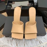 sandalias de tacón alto con estilo al por mayor-Sandalias y zapatillas de piel de vacuno de primera capa. Ropa de cuero de verano. Tacón alto y delgado. Zapatillas femeninas simples y elegantes.