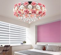 Wholesale beautiful ceiling lights for sale - Group buy led crystal chandelier lights beautiful ceramics rose style ceiling for bedroom dining room lustre cristal art deco chandeliers LLFA