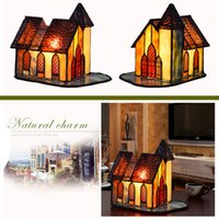 Wholesale retro glass table lamp for sale - Group buy Free shiping Retro creative small house glass lamp Tiffany stained glass table lamp art bedroom bedside bar night lights TF041