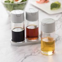 Wholesale vinegar pot resale online - Set of Pieces Glass Cruet Set with Stand Tray Automatic Cap Salad Dressing Oil Vinegar Dispenser Pots for Home Restaurant Three Colors