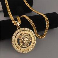 Wholesale 24k gold necklace chain men for sale - Group buy Hip Hop Necklace Fashion Men Luxury Jewelry K Gold Silver Long Chain Diamond Piece Medusa Avatar Pendant Designer Necklaces
