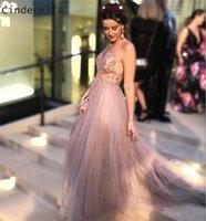cinderella vestido de baile de formatura venda por atacado-Cinderela Champagne Com Decote Em V Sem Mangas de Cristal Beading Macio Tule Vestidos de Noite Vestidos de Festa de Formatura Vestidos de Noite