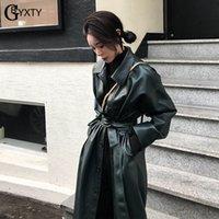 tranchée abrigos achat en gros de-GBYXTY Long Trench-Coat pour Femmes Printemps En Cuir PU En Cuir Simple Trench-Shirt Poitrine Femme Ceinture Windreaker Manteau abrigos largos ZA1439