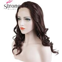 dunkelbraune kastanienbraune perücke großhandel-Lace Front Perücken Wavy Brown und Dark Auburn mischen High Heat vollsynthetische Perücke Lace Hair