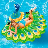 balsas inflables de natación al por mayor-Natación flotante barco animales aire flotante bote inflable pavo real colchón piscina de natación pavo real isla balsa juguete ZZA466