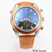 relogios de relógios de cronômetro venda por atacado-Relógio quente dos homens do relógio de quartzo cronômetro CoAxial relógio oceano função cronógrafo laranja cintos de couro relógios homens vestido wri