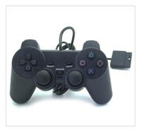 controlador de juego con cable al por mayor-Controlador con cable Para para PS2 Joystick Gamepad para consola de juegos Playstation 2 Negro Venta caliente Precio al por mayor