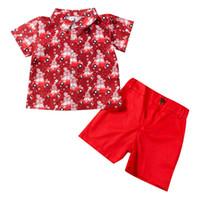 Wholesale pant s babies resale online - Baby Boys Christmas Car Print Shirt Pants Children s Set Two Piece Short Sleeved Shorts