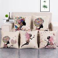 çiçek kız yastık toptan satış-45 cm * 45 cm Kız Çiçekler Keten Pamuk Yastık Minder Durumda Polyester Ev Dekor Yatak Odası Dekoratif Kanepe Araba Atın Yastıklar Kapakları