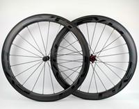 ud tekerlekleri toptan satış-Tam karbon jantlar 50mm derinlik 25mm genişlik karbon tekerlek kattığı / tübüler yol karbon bisiklet tekerlek EVO ile siyah çıkartmaları