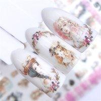 nagelabziehbild tier großhandel-YWK 1 Blatt Nail Art Sticker Blume Streifen / Marine / Tier Design 3D selbstklebende Laser Metallic Slider Decor Nail Decal Maniküre