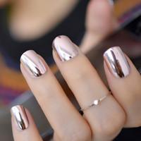 2019 Luz De Espejo Suave Rosa Metal Chapado Falso Francés Acrílico Nail Tips Metallic Square Fake Nails Sin Pegamento De Uñas