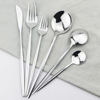 Silver Cutlery 18 10 Stainless Steel Dinnerware Set Knife Dessert Fork Tea Spoon Dinner Set Black Kitchen Silverware Gold Tableware
