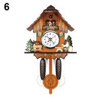 Wholesale bird wooden swing resale online - Antique Wooden Cuckoo Wall Clock Bird Time Bell Swing Alarm Watch Home Art Decor
