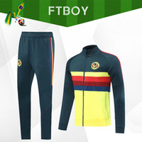 Wholesale club soccer kits resale online - 2020 Club America Jacket Kit Soccer Training Suit Long Sleeve adult Tracksuit Kit Uniform men Shirts