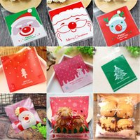 set de regalo de galletas al por mayor-Bolso de galletas autoadhesivo de Navidad Muñeco de nieve de plástico Paquete de galletas de dulces de Santa Bolsas Regalos de galletas de Navidad Bolsas 100pcs / set