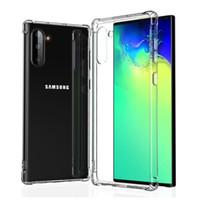 galaksi notu için cep telefonu kapakları toptan satış-100 adet Darbeye Temizle Vaka Samsung Galaxy Not Için 10 Artı Vaka TPU Yumuşak Kapak Samsung Not 10 Pro Cep Telefonu Kılıfları Için EEMIA