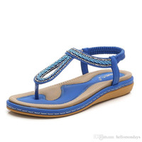 a72e65437e3c4c Womens Bohemia Flat Sandals Summer Beach Rhinestone Elastic T-Strap  Flip-Flop Thong Shoes Comfortable Open Toe Easy Slip On off