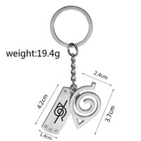 Wholesale naruto keychains resale online - Hollow Naruto Symbol Keychain Leaf Village Design Sqare Hollow Key Ring Alloy Fashion Christmas Gift CNY1193