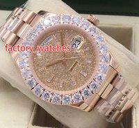 ingrosso orologi più grandi-New Style Prong Set Diamond Watches in oro rosa 43mm Bigger Diamond Dial / lunetta Automatic Fashion Men's Watch spedizione gratuita