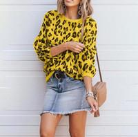 ingrosso maglione giallo di cardigan delle ragazze-Designer Donna Casual Maglioni Inverno New Leopard stampato a maniche lunghe in maglia moda maglione allentato multicolore per le donne