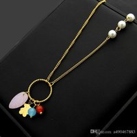 Wholesale bear necklaces for sale - Group buy New hot fashion brand titanium steel necklace K gold rose silver bear pendant necklace suitable for fashion women and couples gifts