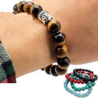 Wholesale turquoise tiger eye bracelet resale online - Newest Fashion mm Tiger Eye Beads Buddha Men Bracelets Prayer Chakra Healing Meditation Turquoise Natuarl Stone Yoga Women Jewelery