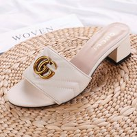 Wholesale shoes fashion decoration for sale - Group buy Luxury Designer shoes women s sandals leather Metal decoration women s slippers casual Fashionable wild ladies high heeled sandals G61
