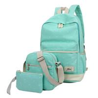 kızlar için kitap çantaları toptan satış-3 adet Set Taze Tuval Kadın Sırt Çantası Büyük Kız Öğrenci Kitap Çanta çanta Laptop Çantası Ile Yüksek Kalite Bayanlar Gençler Için Okul Çantası