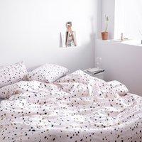lençóis de algodão verde venda por atacado-Polka Dot cama Set 4pcs Cotton Duplo Rainha King Size Duvet Cover Folha de cama fronha cor sólida Cinzento Rosa Azul Verde