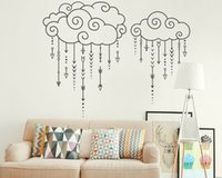 Wholesale vinyl rain resale online - Swirly Clouds Raining Arrows Wall Stickers for Living Rooms Vinyl Murals Decals Quotes Bedroom Become Interesting