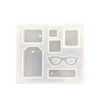 flexible formen großhandel-7 Hohlraum Anhänger, Der Silikonform Flexible Quadratische Sonnenbrille Rechteck Verschiedene Form Formen mit Hängenden Loch DIY Schmuck Formen