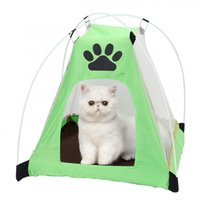 Wholesale tent beds for dogs resale online - Portable Foldable Pet Tent Metal Frame Tent for Pet Dog Cat Summer House Sleeping Bed