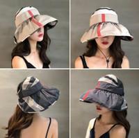 chapeau de visière rayé achat en gros de-Rayures Visières Chapeau 5 Couleurs Femmes Été En Plein Air Plage Pliable Chapeaux De Voyage Sortie Écran Solaire Chapeau Portable Caps