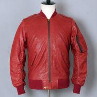 erkekler uçuş deri ceket toptan satış-Uçuş Ceket Koyun Hakiki Deri Ceket Erkekler Motosiklet Biker Deri Ceket Kırmızı Bombacı Beyzbol üniforma