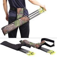 Wholesale bow quivers for sale - Group buy Three Hunting Pouch Tubes Outdoor Back Shoulder Bag Camo Black Canvas ry Bow Arrow Case Pot Sac Holder Package Belt Quiver Strap Bags