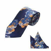 marineblaues taschentuch großhandel-JEMYGINS Neue Floral Striped 8 cm Seide Hochzeit Jacquard Woven Männer Krawatte Paisley Krawatte Einstecktuch Taschentuch Set Marineblau Krawatte