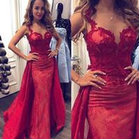 Wholesale black special occasion dresses plus size online - 2019 New Designer Red Mermaid Prom Dresses Lace Applique Sheer Neck Formal Dresses Evening Wear Special Occasion Robes de bal longues