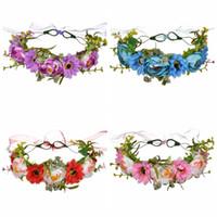 baston aksesuarları toptan satış-Moda Kadın Çiçek Taç Yaratıcı Kız Gül Çelenkler Manuel Kamışı Saç Hoop Lady Açık Seyahat Parti Saç Aksesuarları TTA1169