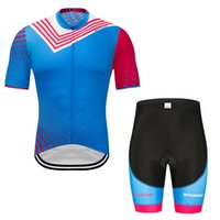 Wholesale mens cycling clothing set resale online - cycling jersey blue bike jacket and shorts set cycling clothing MENS summer quick dry Breathable and sweat absorbing size S XL