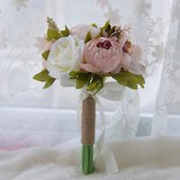 bouquet de graduation achat en gros de-Bouquet De Mariage 2019 Européen Faux Fleurs Vintage Artificielle Rose Décoration De La Maison Bouquet De Mariage Graduation Multi couleur bouquet mariage