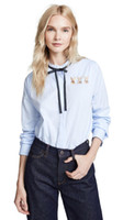 Wholesale led light ties online - Haoduoyi Sweet fresh light blue rabbit embroidery tie up lead curved hem girl long sleeve shirt