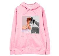 neues modejunge foto großhandel-Neue ankunft kpop unisex bangtan jungen mitglied 2 fotos druck dünne hoodies mode armeen herbst frühling pullover sweatshirt