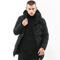 parka jacke herren schwarz großhandel-Mens Casual Coat Herbst lange Parka Baumwolle Dicke warme Outwear kragenlose Solid Black Winterjacke Männer