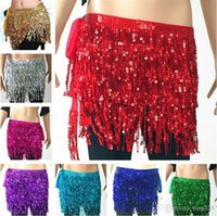 faldas de gasa indio al por mayor-Belly Dance Falda Hip Wrap Cinturón Gasa Cinturón Falda 12 colores Lentejuelas borla Indian dance falda T3I0368