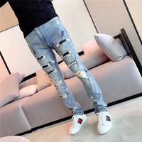 pantalon de jogging en cuir pour hommes achat en gros de-2019 Bras Designer de Mode Hommes Déchiré Biker Jeans En Cuir Patchwork Slim Fit Noir Moto Denim Joggers Pour Homme Détresse Jeans Pantalon