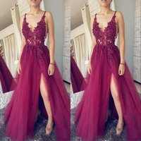 Wholesale black prom dress sequin top for sale - Group buy 2020 Dark Fuchsia Deep V Neck Prom Dresses Lace Top Tulle Split Formal Evening Dresses Long Party Gowns