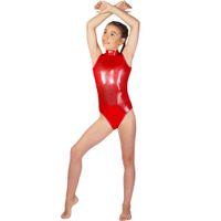 ingrosso corporei lucenti-Girls Shiny Metallic Sleeveless Dolcevita Body per ginnastica Kids Spandex Ballet Dance Body Costumi